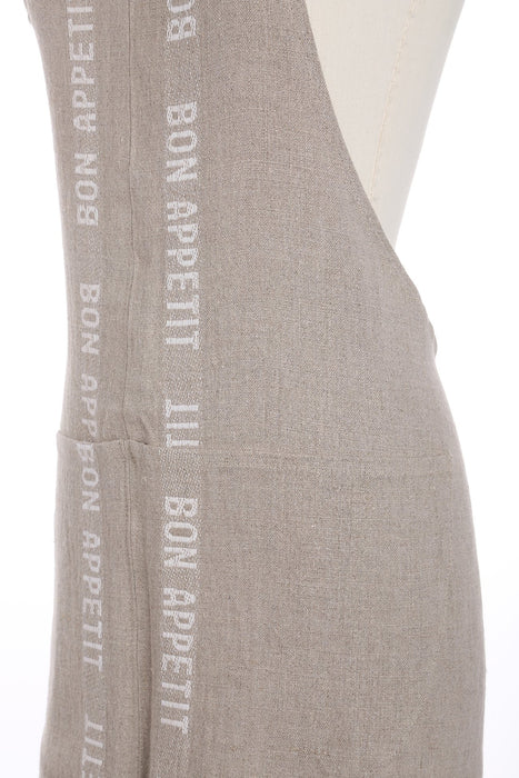 Natural and White 'Bon Appetit' Linen Apron