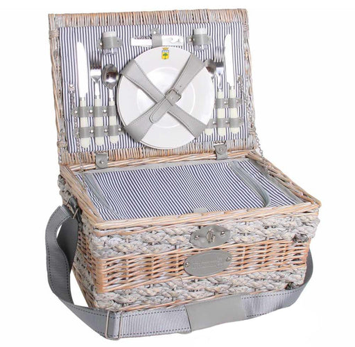 Navy Striped Wicker Picnic Basket (2 person)