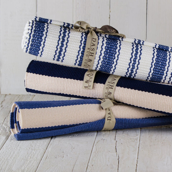 Navy Trimaran Striped Indoor / Outdoor Rug