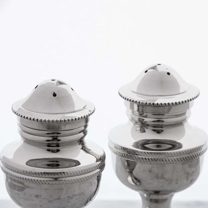 Nickel Plated Brass Sagamore Salt & Pepper Shakers