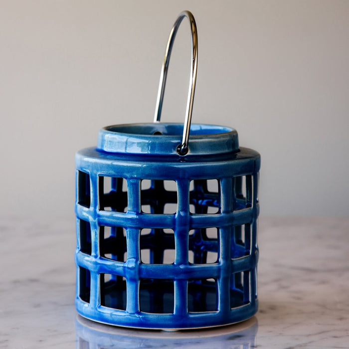 "Ocean Blue Crackle Hanging Lantern (5"" h)"