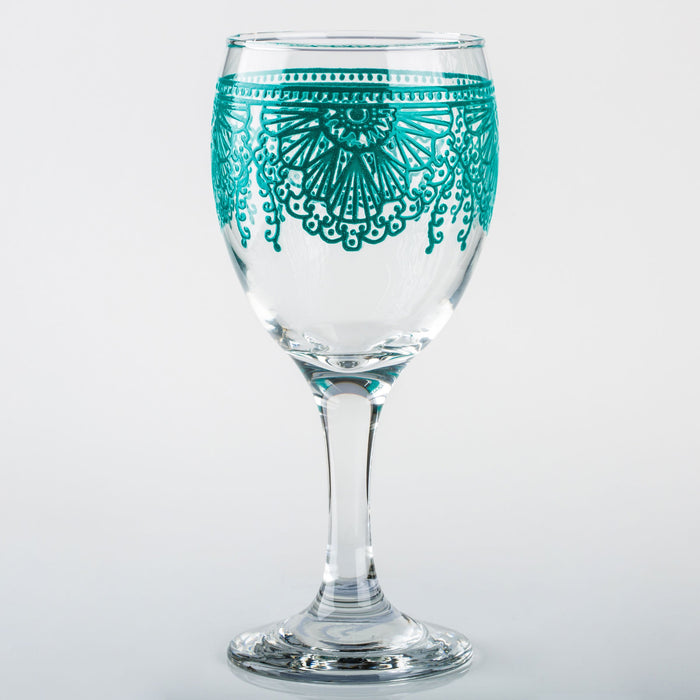 Ocean Blue Lalla Moroccan Wine Glass