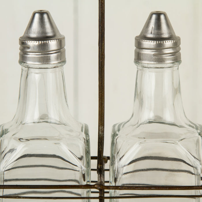 Oil and Vinegar Cruet with Metal Caddy