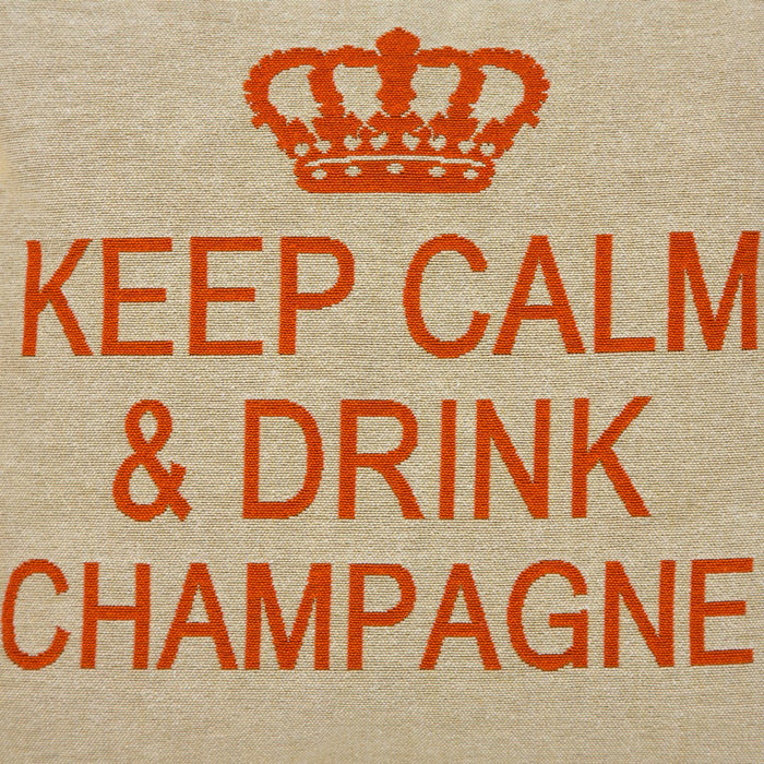 "Orange & Beige Keep Calm & Drink Champagne Decorative Pillow (18"" x 18"")"
