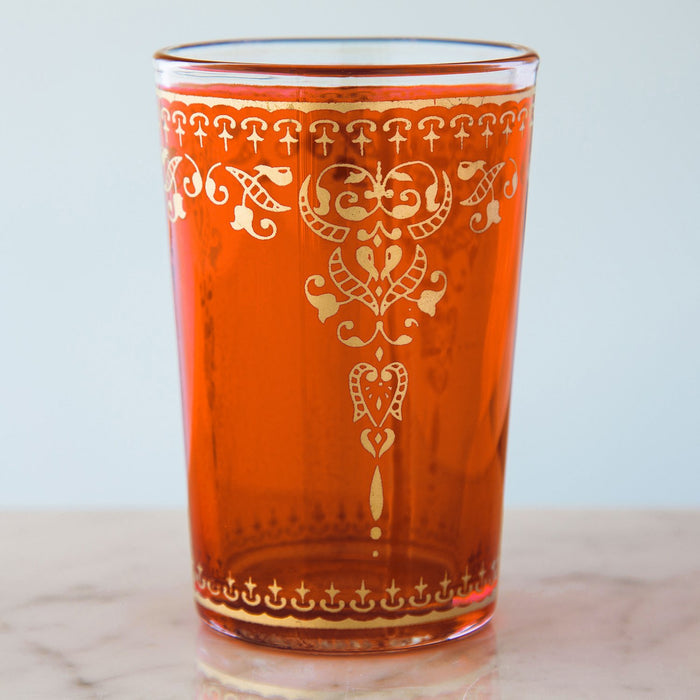 Orange and Gold Filigree Moroccan Tea Glass