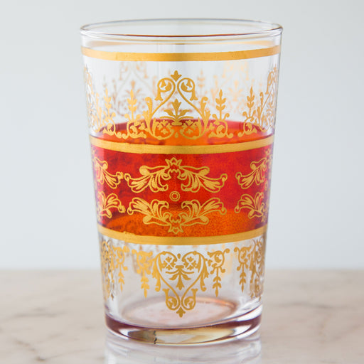 Orange and Gold Motif Moroccan Tea Glass