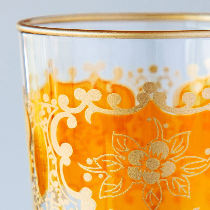 Orange and Gold Ornate Moroccan Tea Glass