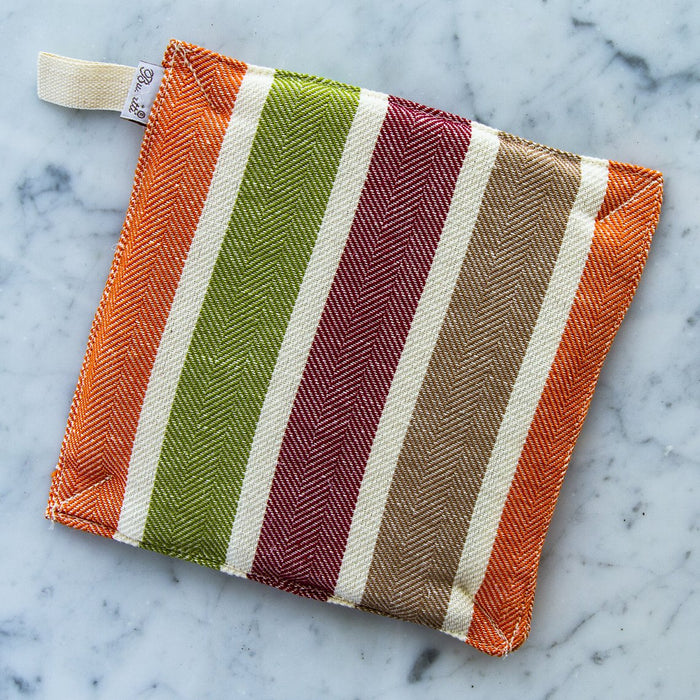 Orange & Green 60% Linen / 40% Cotton Square Oven Mitt