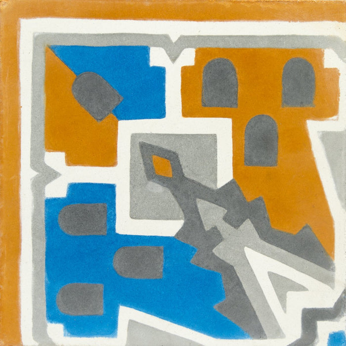 "Orange, Blue & Grey Agatha Corner Carocim Tile (8"" x 8"") (Individual Tile)"