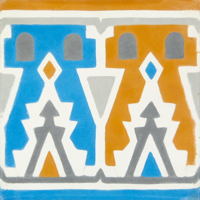 "Orange, Blue & Grey Agatha Frise Carocim Tile (8"" x 8"") (pack of 12)"