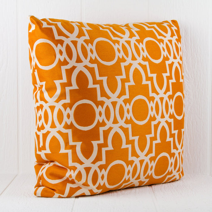 "Orange Cotton Quatrefoil Pillow (24"" x 24"")"