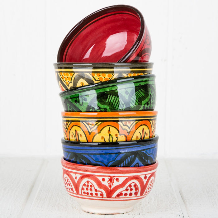 Orange Hand Painted Moroccan Bowl (S)