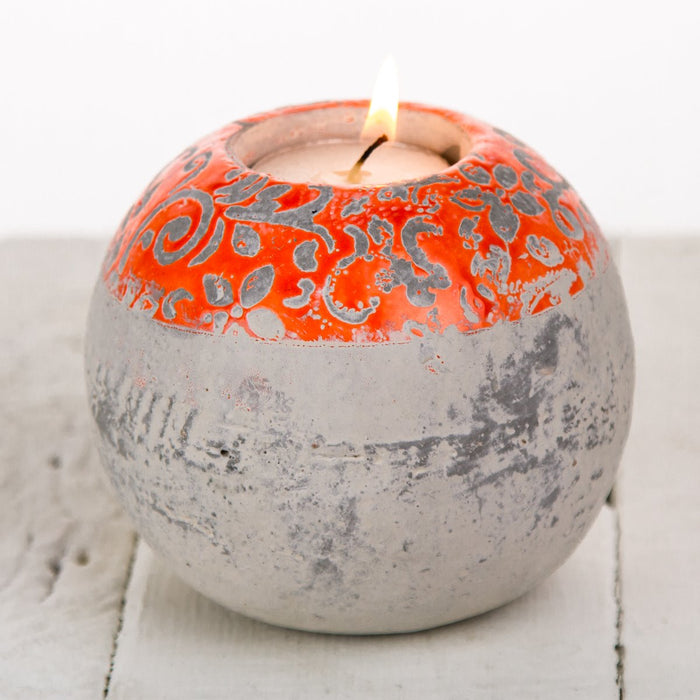 Orange Round Concrete Tea Light Candle Holder