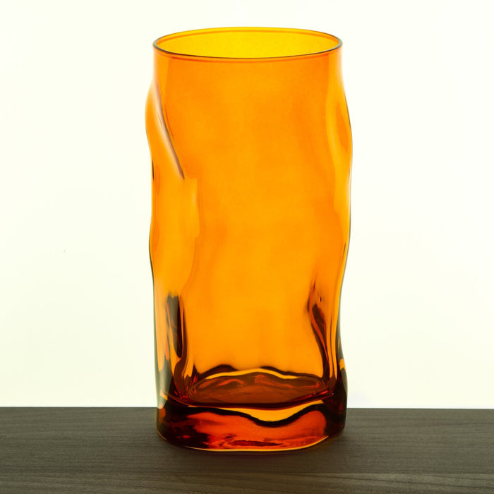 Orange Wavy Double Old Fashioned Tall Glass