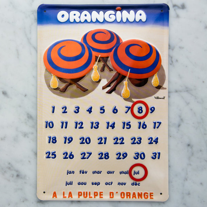Orangina Convex Tin Calendar with Adjustable Magnet Day Ring
