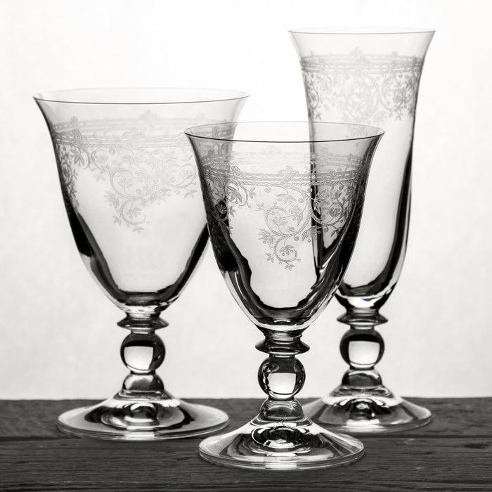Ornate Etched Champagne Glass