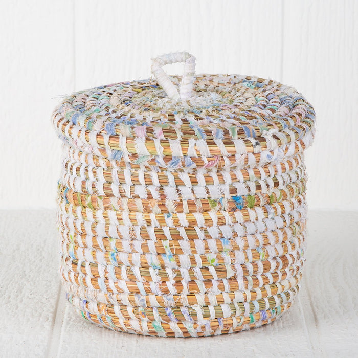 "Pastel African Basket With Lid (7""h)"