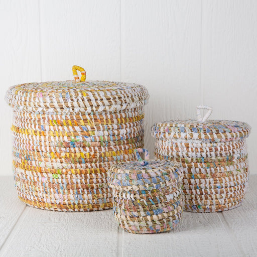 Pastel African Baskets With Lid