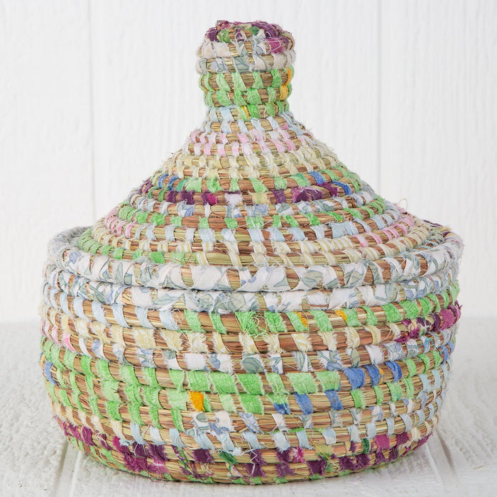 "Pastel African Nesting Box With Lid - Large (8.5""h)"