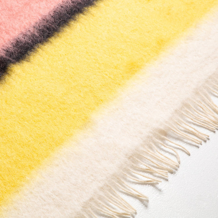 Pink and Cream Stripe Mohair Throw Blanket