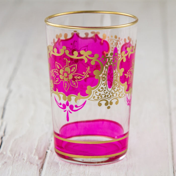 Pink and Gold Ornate Moroccan Tea Glass
