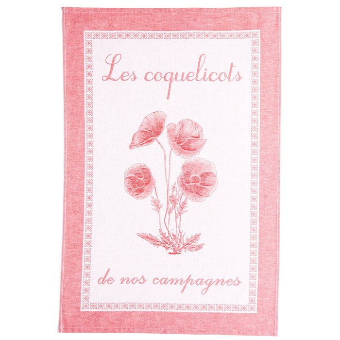 Pink Coquelicots (Poppies) 100% Cotton Jacquard Tea Towel
