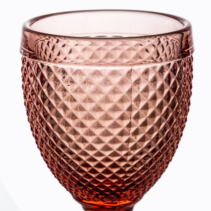 Pink Embossed Wine Glass Goblet