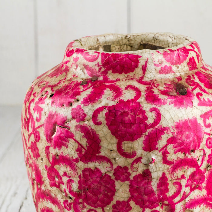 "Pink Floral Round Pot (8"" h)"