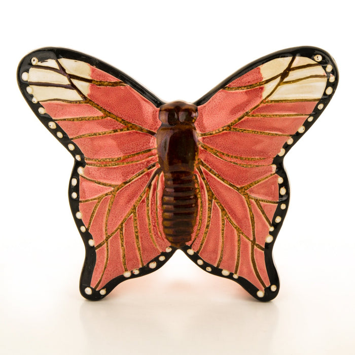 Pink Hand Painted Ceramic Butterfly Dish