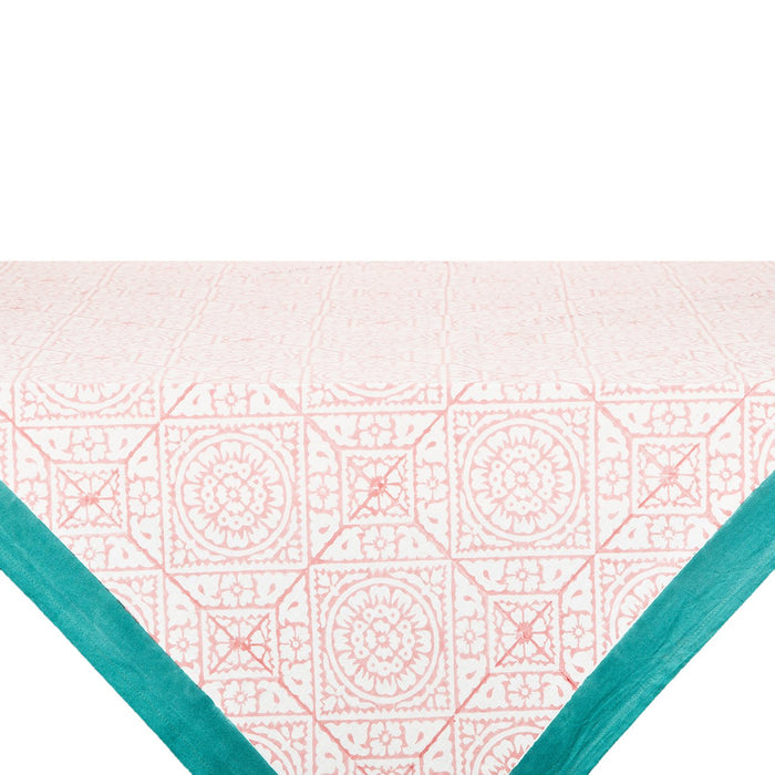 "Pink Tiled Tablecloth (106"" x 67"")"