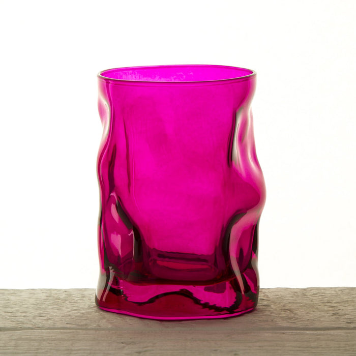 Pink Wavy Double Old Fashioned Short Glass