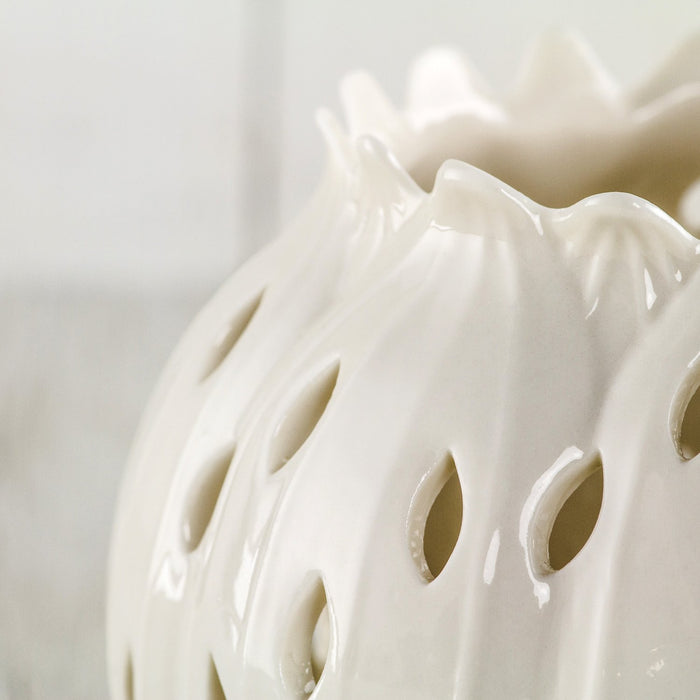 Porcelain Lotus Candle Holder, Medium