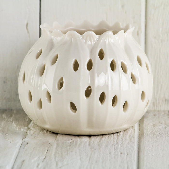 Porcelain Lotus Candle Holder, Small