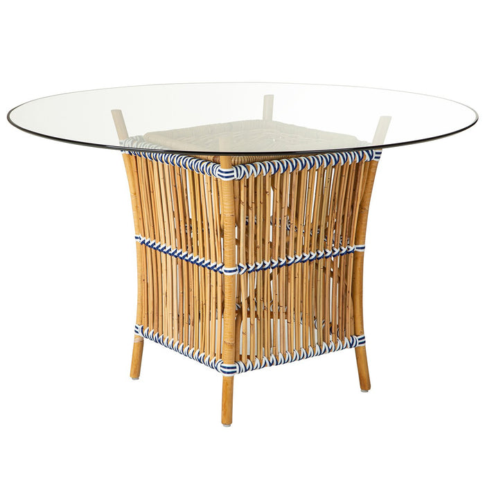 Rattan and Glass Table
