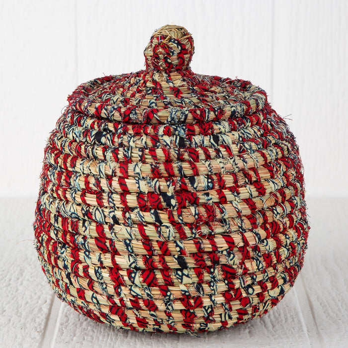 "Red African Candy Box With Lid (9""h)"