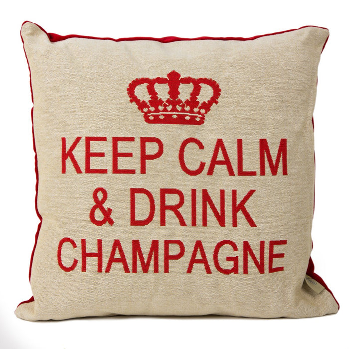 "Red & Beige Keep Calm & Drink Champagne Decorative Pillow (18"" x 18"")"