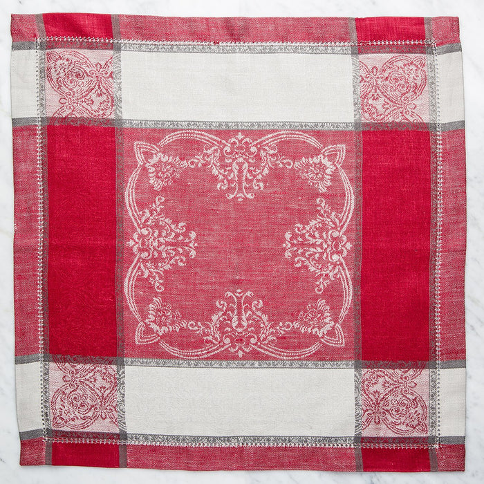 Red and Grey Capricho Linen Napkin