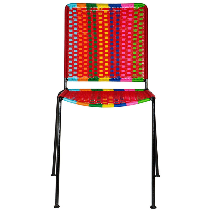 Red U0026 Multi Colored Woven Artisan Metal Chair