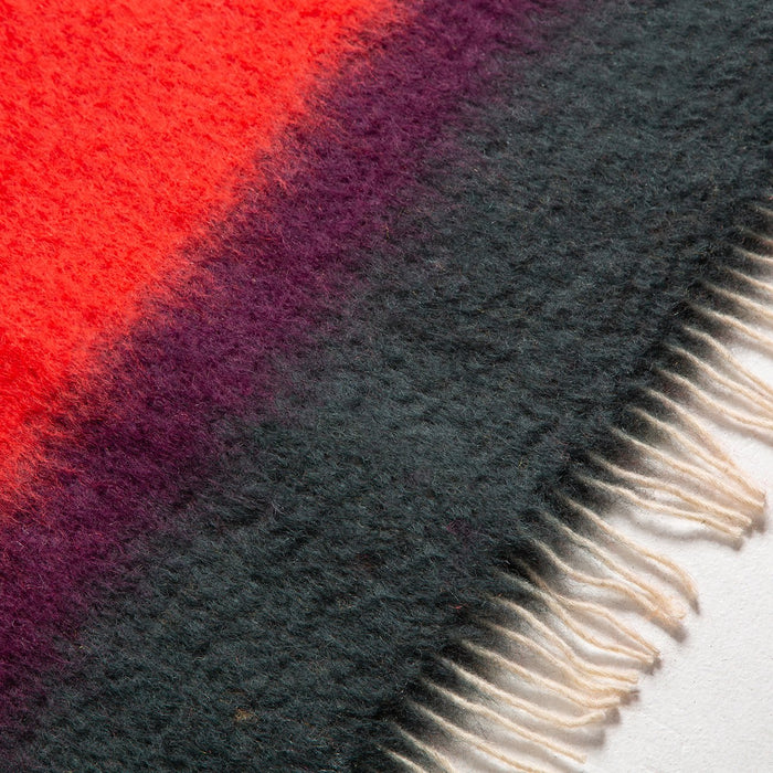 Red and Orange Stripe Mohair Throw Blanket