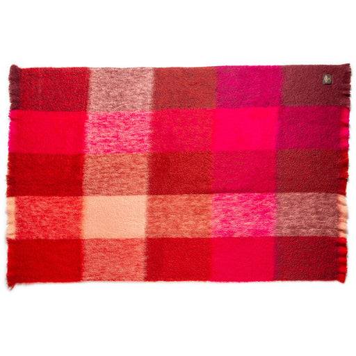 Red and Pink Plaid Mohair Throw Blanket