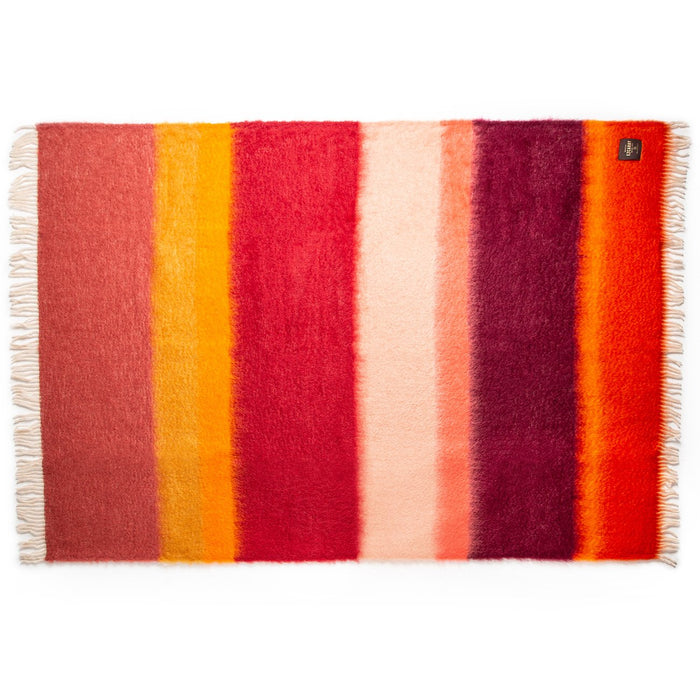Red and Purple Stripe Mohair Throw Blanket