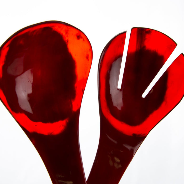 Red Antelope Horn Salad Servers
