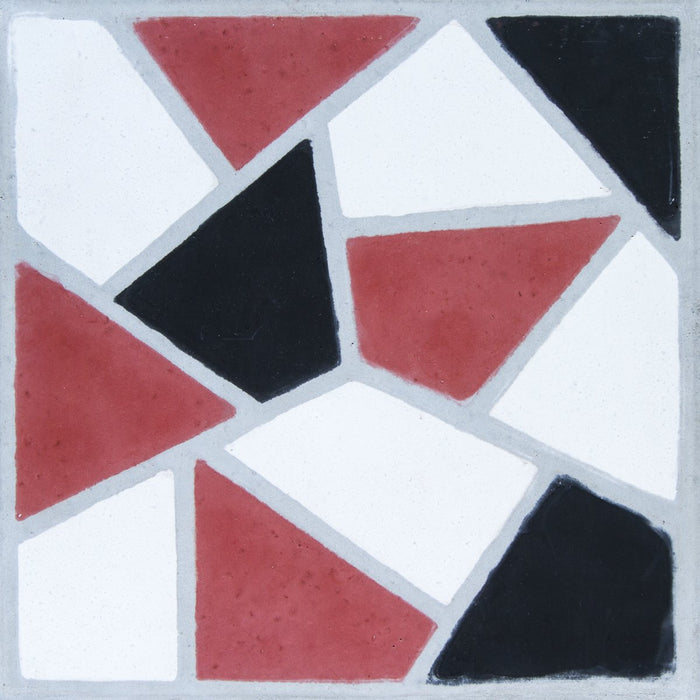"Red, Black & White Casson Carocim Tile (8"" x 8"") (pack of 12)"