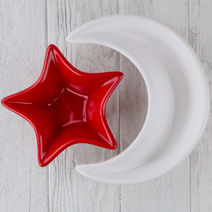"Red Ceramic Crescent Moon Serving Dish (8.5"" w)"