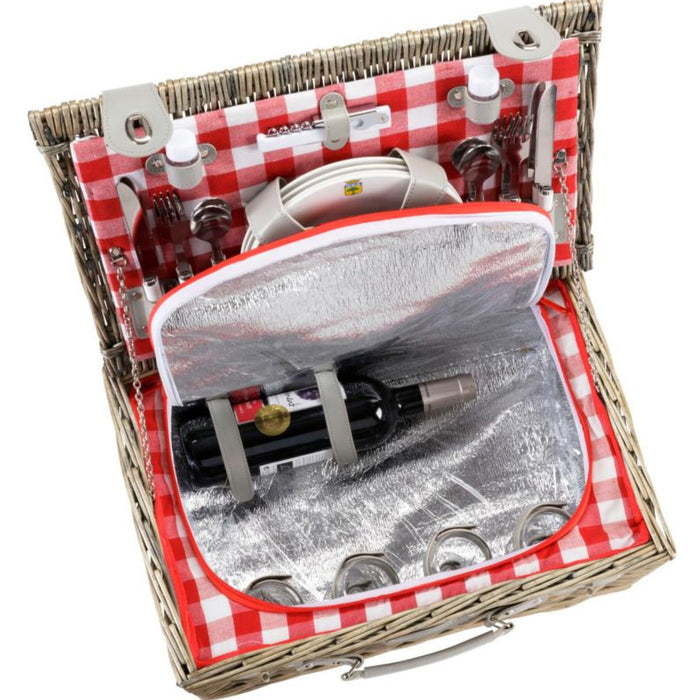 Red Checkered Wicker Picnic Basket (4 person)