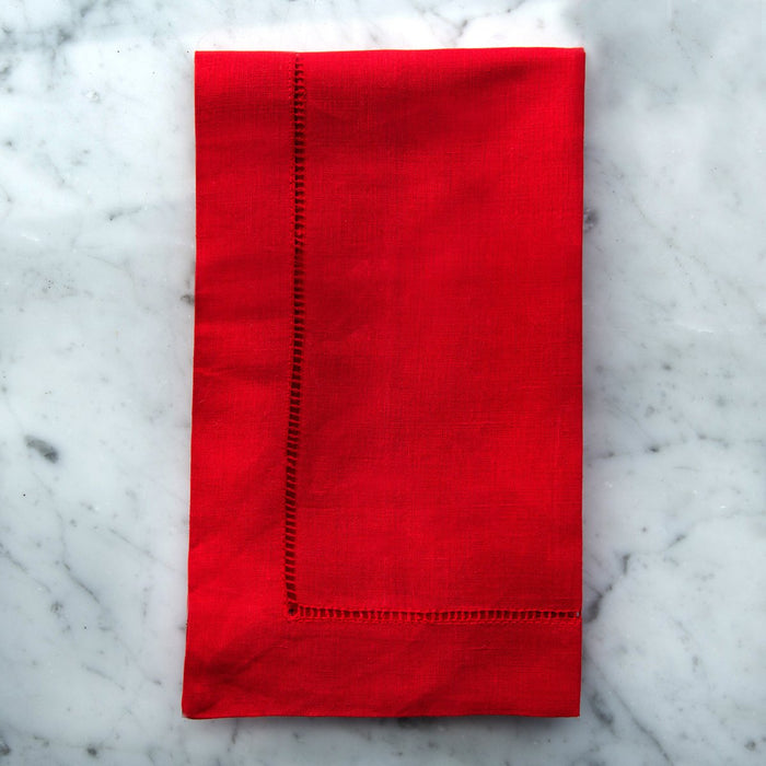 "Red Cotton Hemstitch Napkin (20"")"