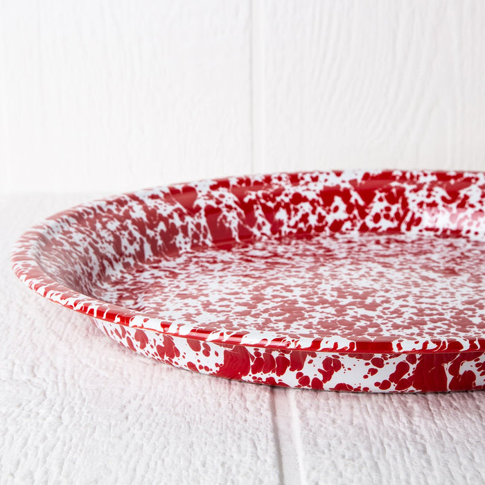 Red Enamelware Serving Tray