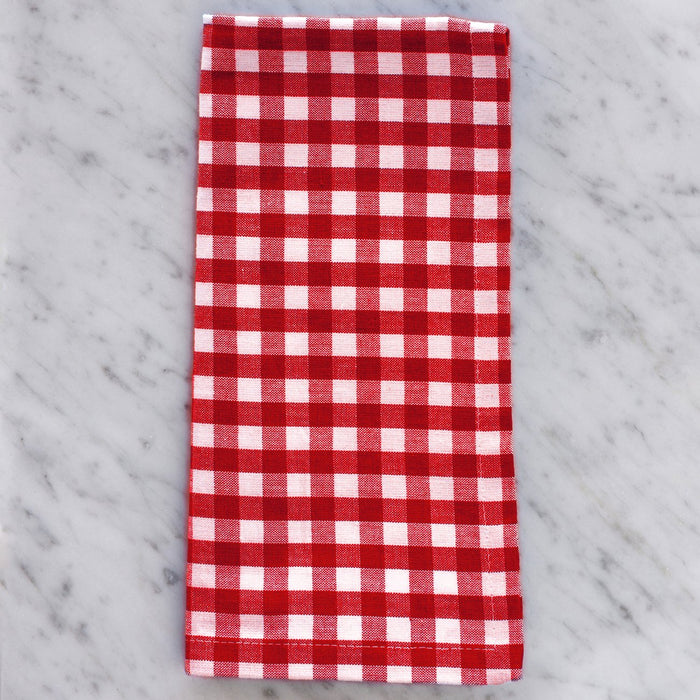 "Red Gingham Checker 100% Cotton Single Stitch Napkin (18"")"