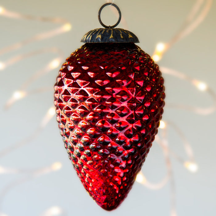 "Red Glass Ornament (6""h)"