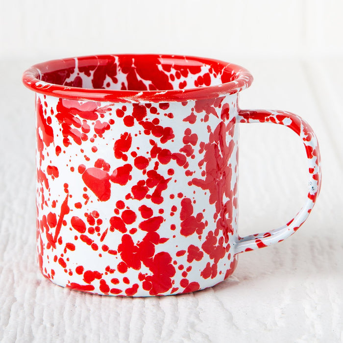 Red Marble Enamelware Coffee Mug (8 oz.)